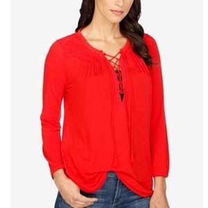 Lucky brand orange red peasant lace up blouse 1x